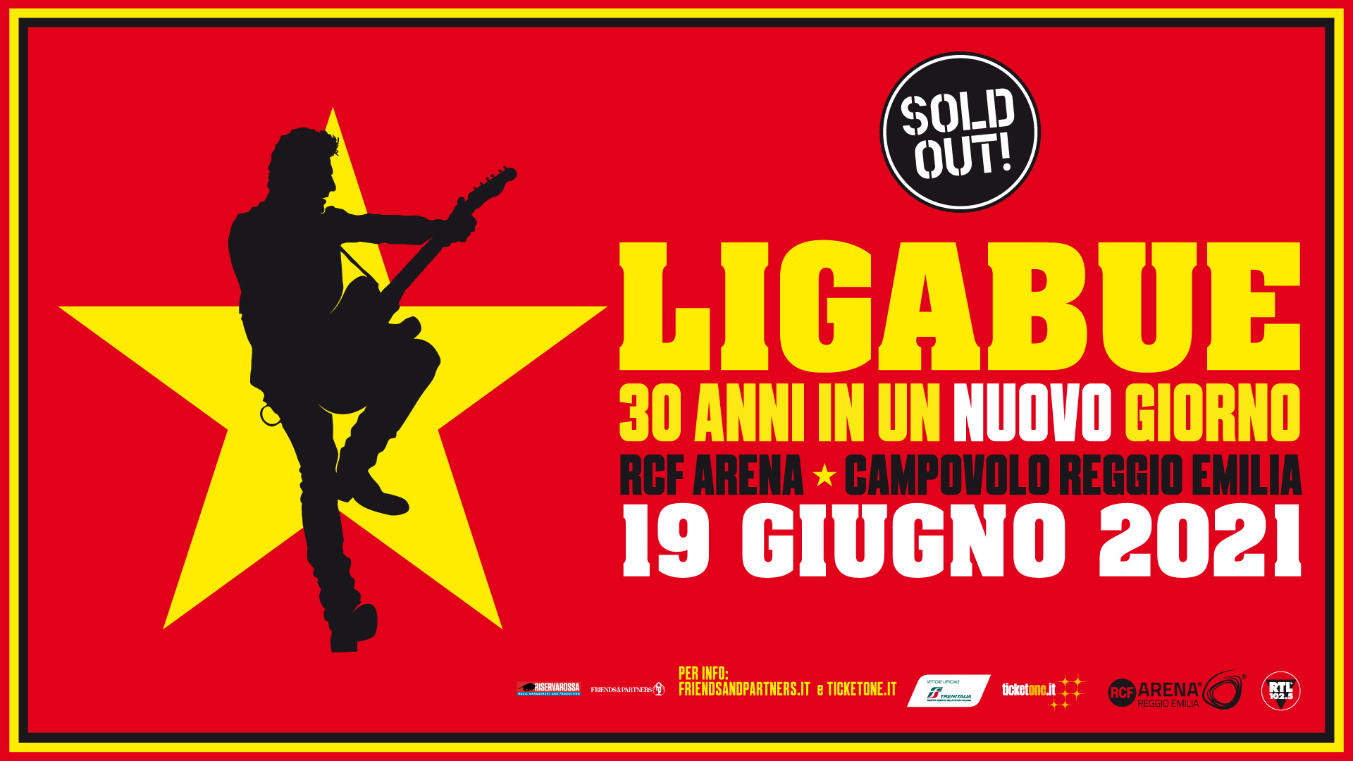 """Ligabue """"30 anni in un giorno"""": rinviato al 19 giugno 2021"""
